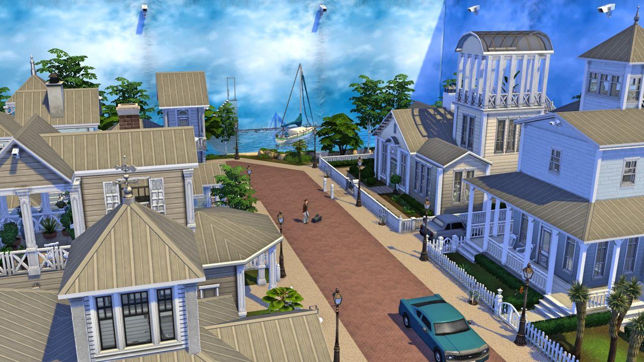 Una captura de pantalla de la segunda versión de Sims 4 de Seahaven de The Truman Show de Simoniona.  Es la misma calle que antes, pero esta vez todo está rodeado por paneles de escenarios de películas para crear un cielo falso, y las cámaras son visibles en todas partes.