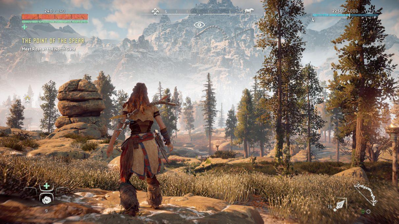 Una captura de pantalla de Horizon Zero Dawn en la configuración de gráficos originales