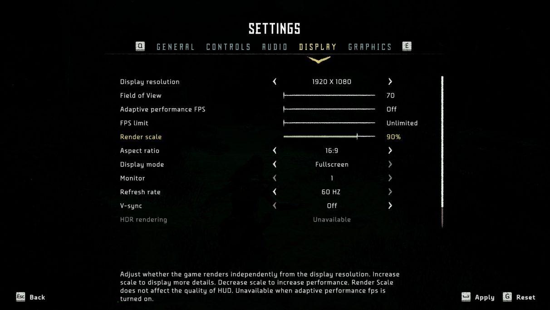 Una captura de pantalla de la configuración de pantalla de PC de Horizon Zero Dawn.
