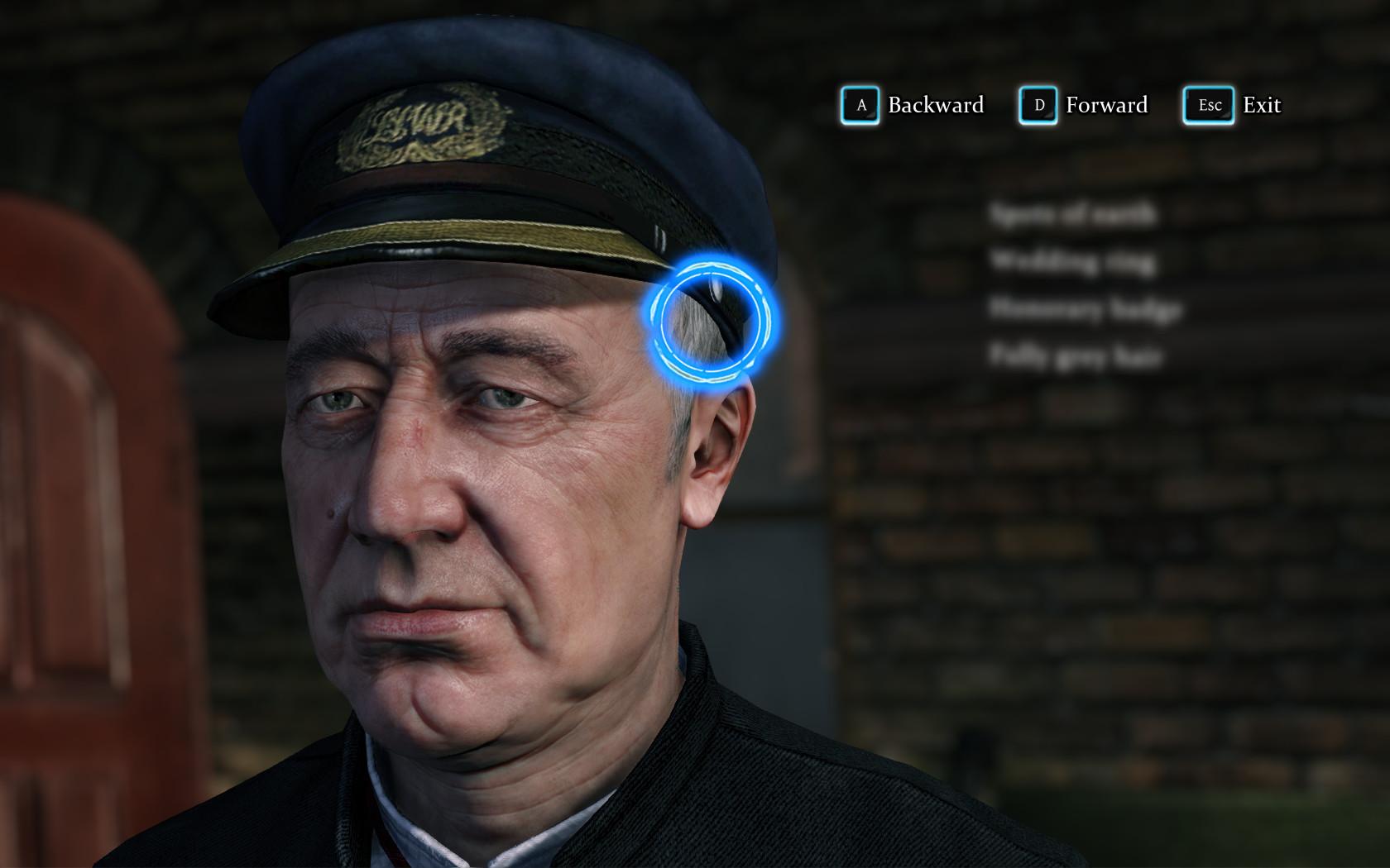 La pantalla muestra el rostro de un hombre de mediana edad con una gorra de uniforme.  El cursor está listo para enfocarse en diferentes partes de su rostro, con pistas potenciales aún por descubrir oscurecidas en una lista en el lado derecho de la pantalla.