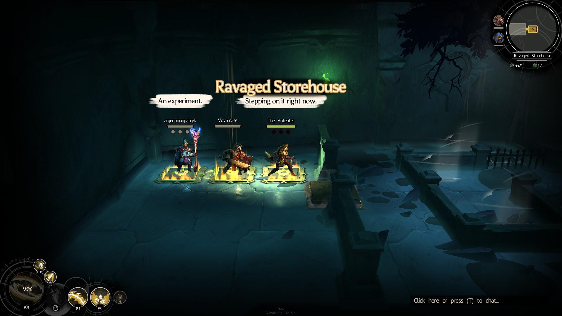 Los tres jugadores se paran sobre una almohadilla de presión cada uno, que brillan cuando se activan.