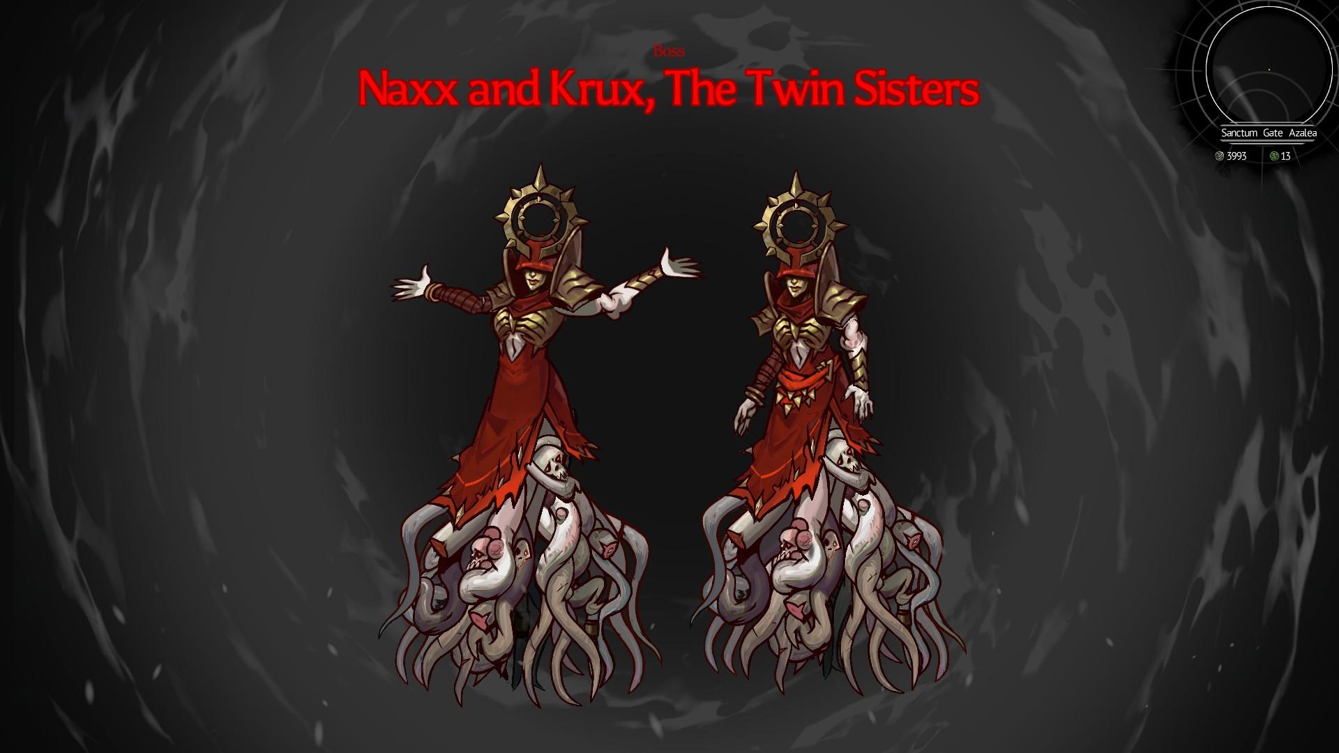 Un par de personajes corruptos tipo sacerdotisa con enormes masas de tentáculos en lugar de piernas.  Uno está levantando los brazos dramáticamente.  Lecturas de texto