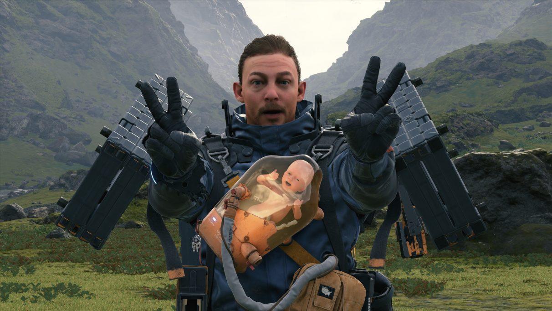Una captura de pantalla de Death Stranding con Sam y su BB luciendo relajados en el modo de fotografía del juego.