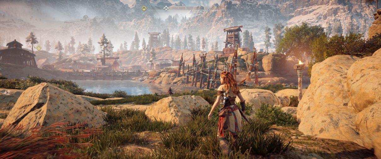 Una captura de pantalla ultra ancha de Horizon Zero Dawn que muestra la configuración de Dynamic HUD.
