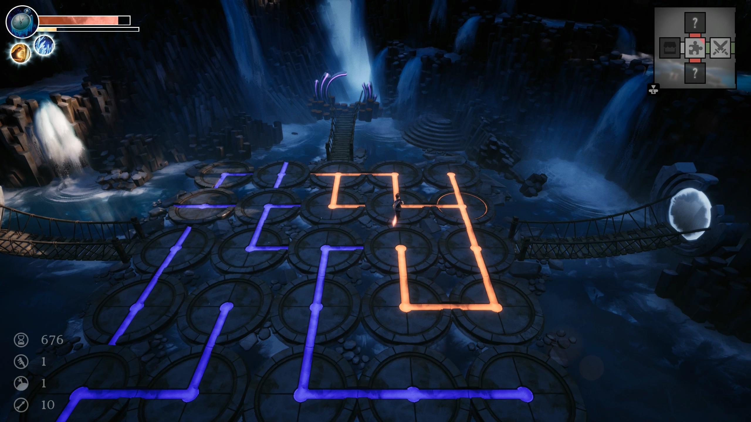 Una captura de pantalla de un rompecabezas de piso en Dreamscaper.  La escena es de una cueva con círculos giratorios en el suelo.  Cada uno tiene una línea de color o un ángulo en la parte superior.  Evidentemente, el jugador debe rotar los círculos en las posiciones correctas de modo que formen una línea ininterrumpida de un lado de la habitación al otro.