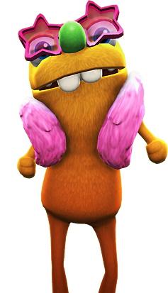 Una criatura naranja difusa y bideal con gafas de sol con forma de estrella rosa, una faja y dos dientes enormes, flotando débilmente amenazadoramente.