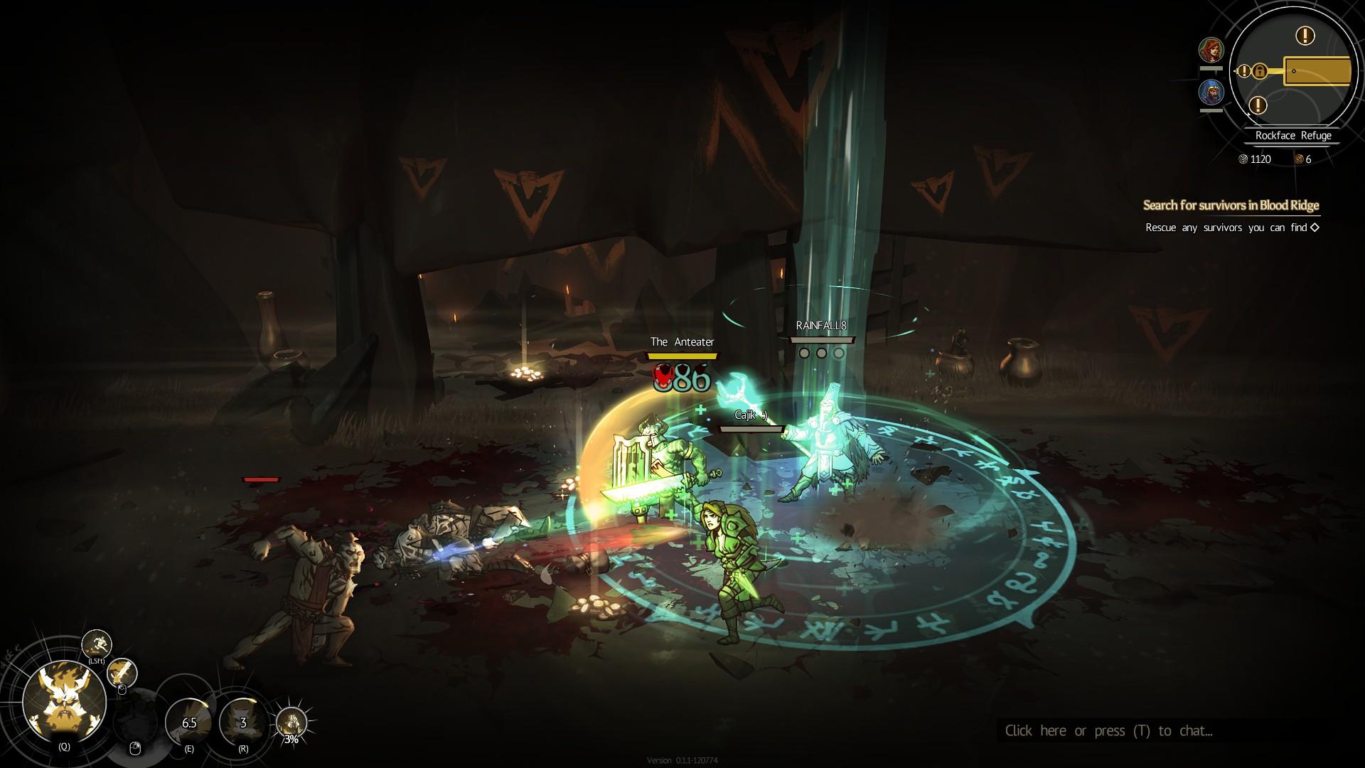 Tres jugadores luchan contra unos humanoides.  El guerrero protege al mago con su escudo, que ha disparado un hechizo de área espectacular.