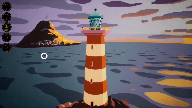 Un faro, con una isla al fondo, con una ciudad rodeando un gran volcán.