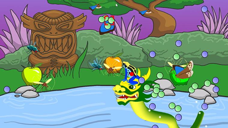 Una captura de pantalla de Frog Fractions, en la que una colorida rana monta un dragón.  Hay burbujas e insectos y un tótem de madera tallada en el fondo.