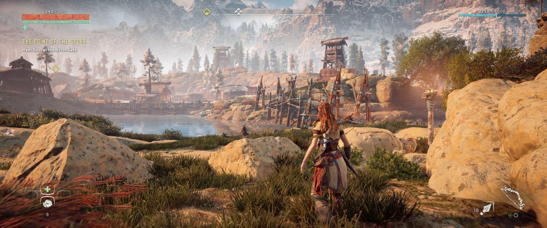 Una captura de pantalla ultra ancha de la configuración del HUD de Horizon Zero Dawn, que se configura automáticamente para aparecer en los bordes de la pantalla.