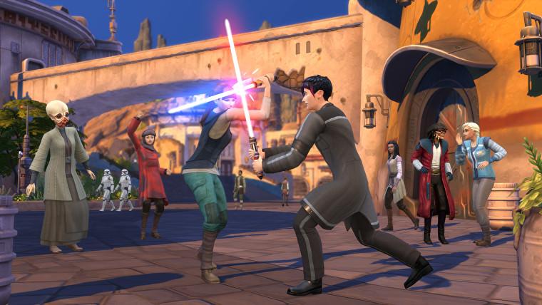 Una batalla tradicional de pon farr en la expansión Star Wars de Los Sims 4.