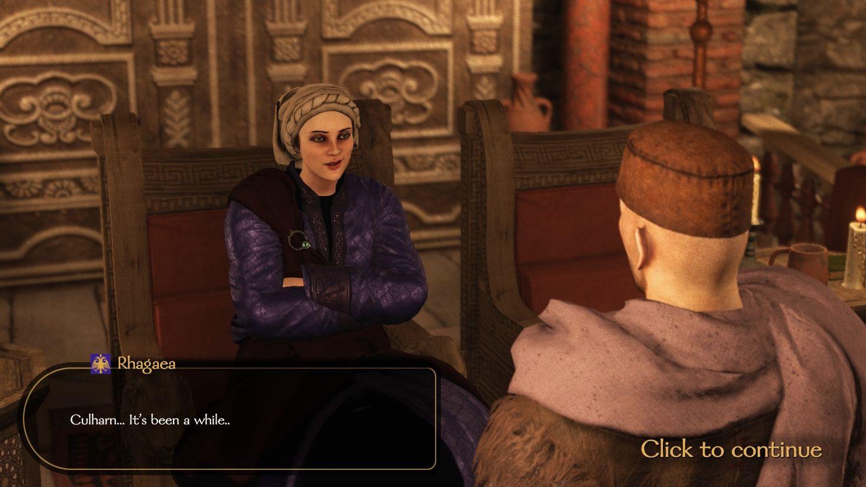 Una captura de pantalla de Mount & Blade II que muestra a la emperatriz Rhagaea.  Ella está sentada en su trono, con un vestido púrpura y se ve muy engreída.