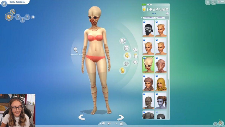 Una captura de pantalla del video de EnglishSimmers sobre las opciones de Journey To Batuu Create A Sim.  Muestra a su Sim como un extraterrestre Bith, lo que significa que tiene un torso normal y luego usa una máscara Bith y tiene, esencialmente, guantes y medias para que sus brazos y piernas se vean Bith-y también.  Es muy divertido.