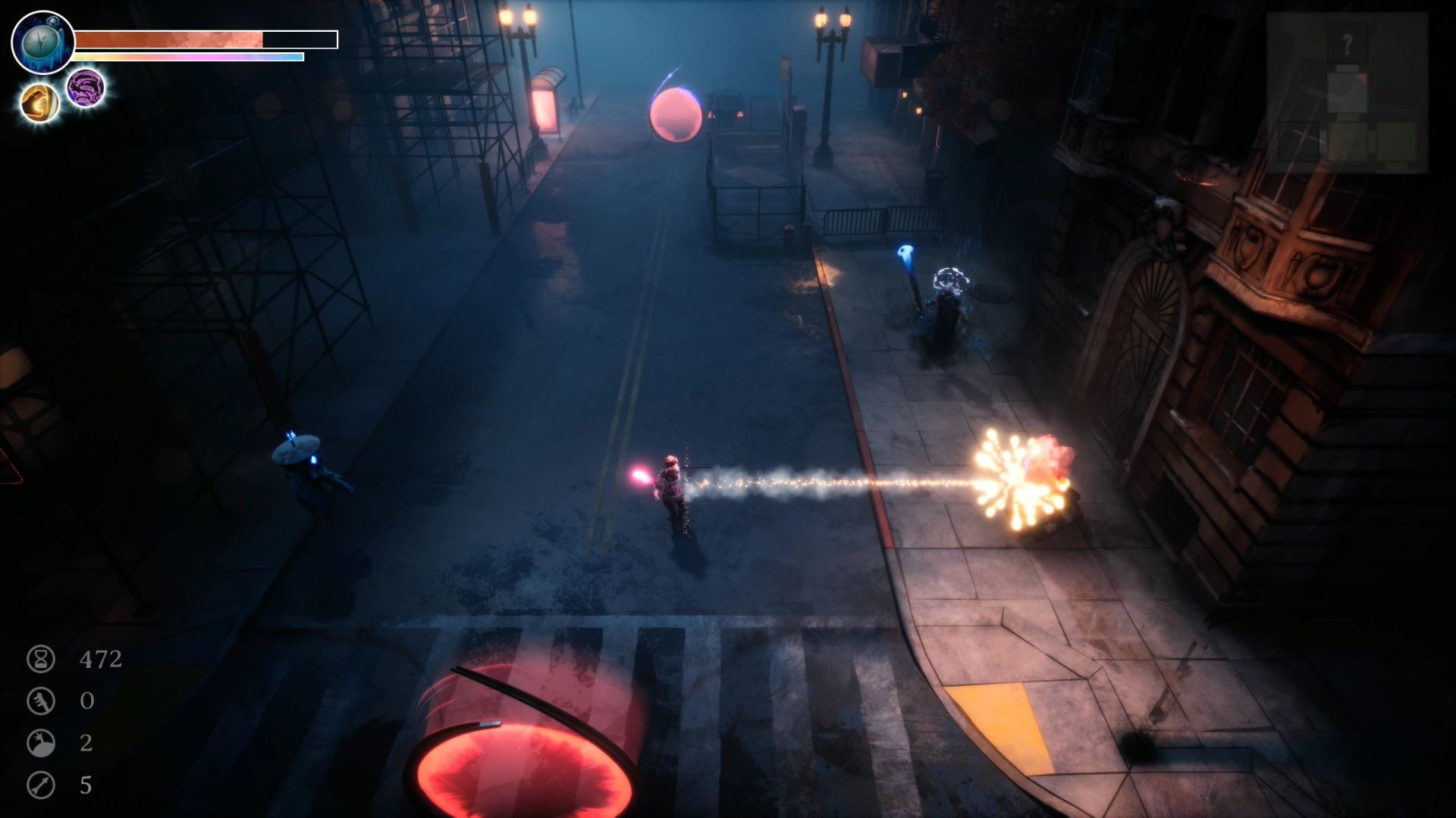 Una captura de pantalla de una calle oscura en Dreamscaper.  El personaje del jugador ha disparado un cohete de botella a un enemigo y ha explotado en muchas luces parpadeantes.