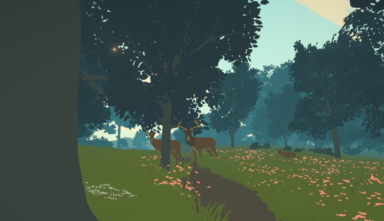 Un ciervo y un ciervo miran al jugador con cautela en un bosque.