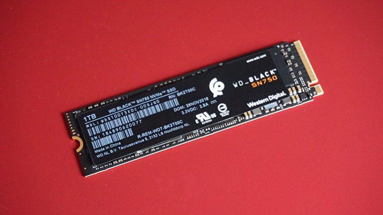 Una foto del SSD WD Black SN750 NVMe.
