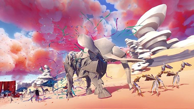 Un desfile de animales en una captura de pantalla de Paper Beast.