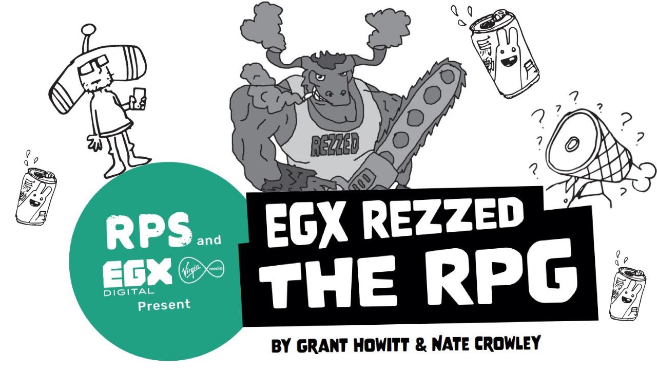 Un título dice EGX REZZED THE RPG, de Grant Howitt y Nate Crowley.  Detrás hay un dibujo de un Minotauro de dibujos animados empuñando una motosierra.  A cada lado hay una caricatura de alguien vestido como el personaje principal de Katamai Damacy, y alguien con una pierna de jamón por cabeza.