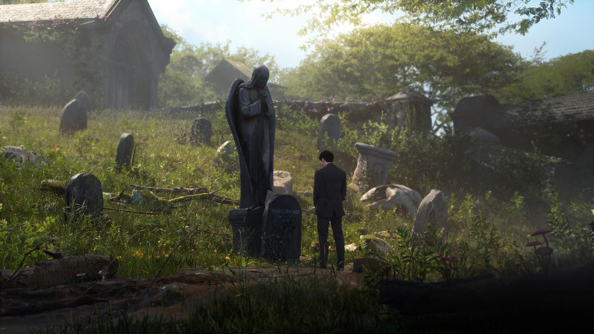 El joven Sherlock se para, a media distancia, frente a una gran tumba coronada por una estatua de ángel de aspecto triste.  Tiene la cabeza inclinada y, obviamente, también se siente triste.