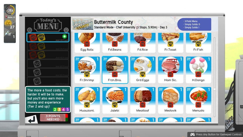 Una captura de pantalla de los elementos del menú en Cook, Serve, Delicious!  ¡¿3 ?!  incluidos plátanos congelados, rebanadas de jamón, rollos de huevo y jalebi, cualquiera de los cuales podría incluir un pícaro F