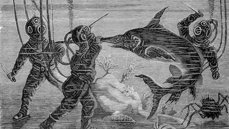 Una lucha submarina en una ilustración de 'El mar: su conmovedora historia de aventuras, peligros y heroísmo'