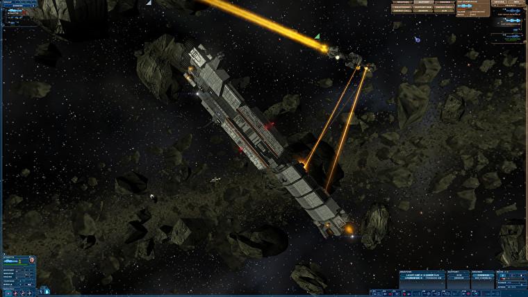 Una nave espacial delgada y larga intercambia fuego láser con una nave tipo crucero más pequeña en un campo de asteroides