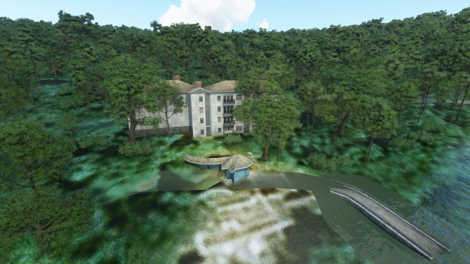 Una captura de pantalla de Microsoft Flight Simulator que muestra Falling Water de Frank Lloyd Wright.  Está hecho de edificios genéricos y no del edificio original.