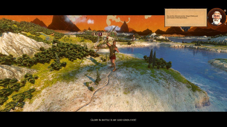 Aquiles se jacta de ser increíble mientras agita su lanza en el mapa de la campaña.