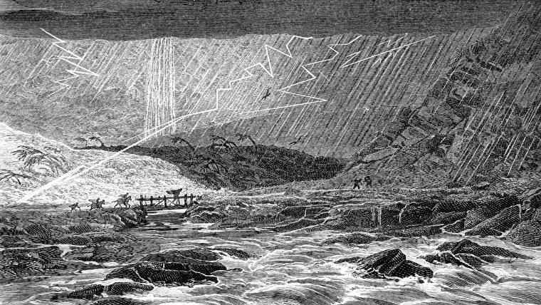 Una tormenta en una ilustración de 'Tropical Nature, un relato de los fenómenos más notables de la vida en los trópicos occidentales.  Compilado a partir de las narrativas de viajeros y observadores distinguidos.