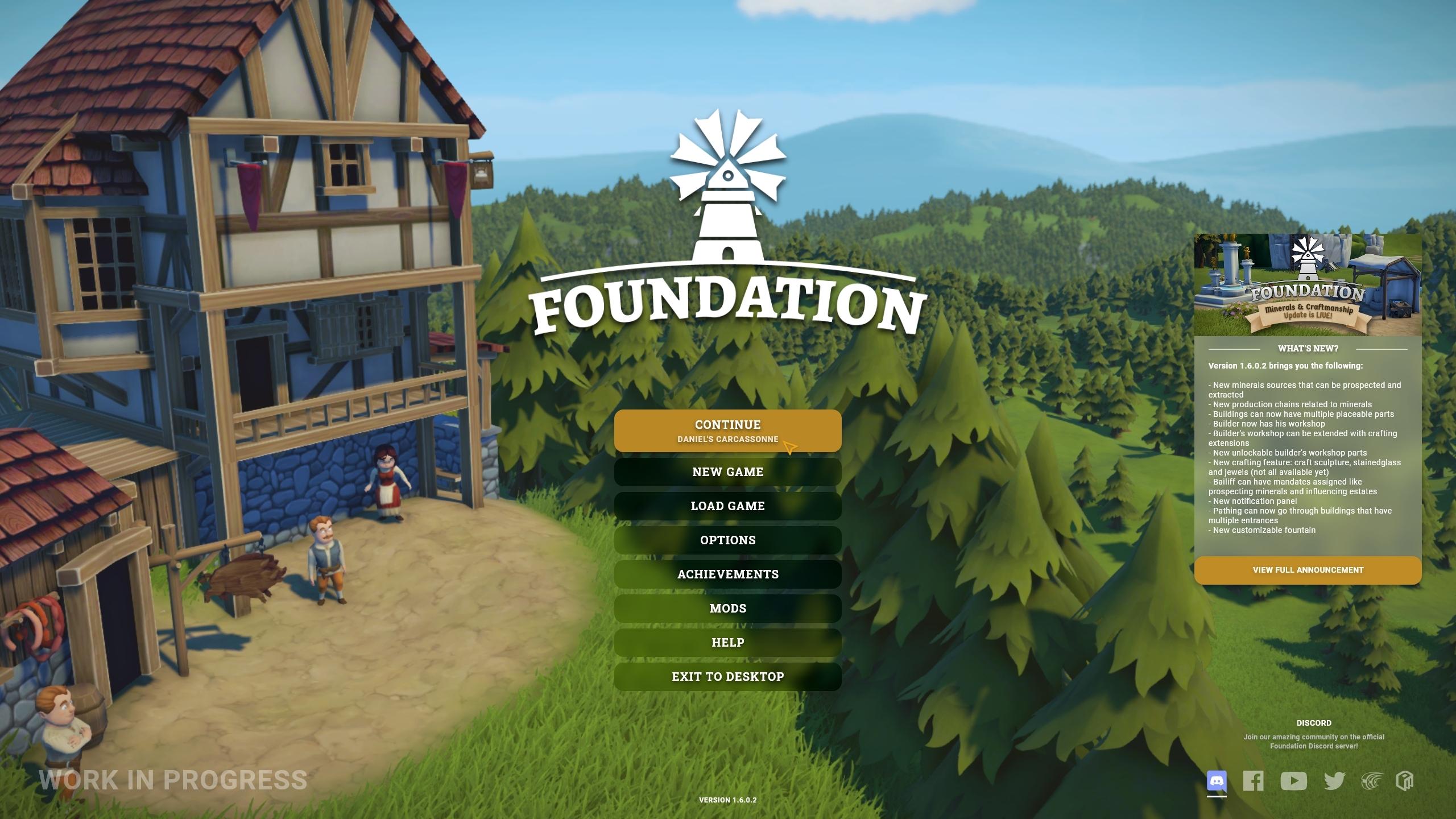 Una captura de pantalla de trabajo en progreso de la nueva interfaz de usuario para Foundation, esta que muestra la pantalla de título.  Hay una lista clara de elementos de menú como Continuar, Nuevo juego, Cargar juego, cada uno en letra clara en un botón de sombra oscura.  Los botones se iluminan con un color marrón dorado cuando se seleccionan.