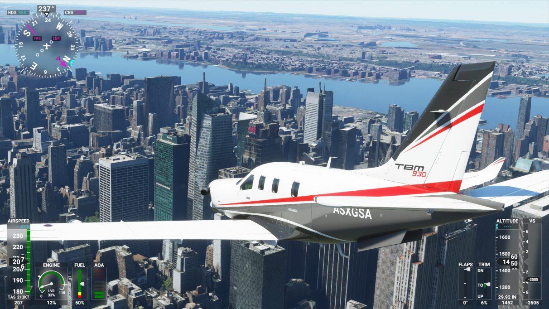 Una captura de pantalla de la ciudad de Nueva York en Microsoft Flight Simulator 2020 en su configuración de gráficos de alta gama