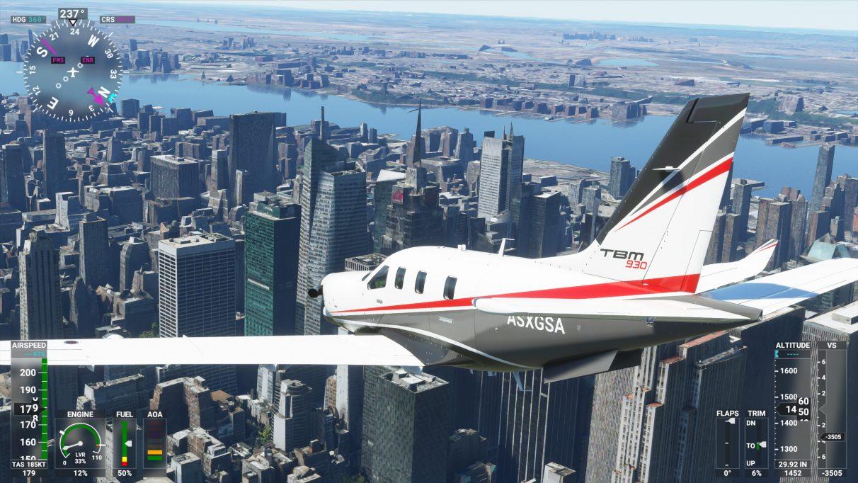 Una captura de pantalla de la ciudad de Nueva York en Microsoft Flight Simulator 2020 en su configuración de gráficos Media