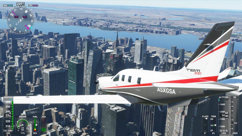 Una captura de pantalla de la ciudad de Nueva York en Microsoft Flight Simulator 2020 en su configuración de gráficos de gama baja