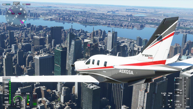 Una captura de pantalla de la ciudad de Nueva York en Microsoft Flight Simulator 2020 en su configuración de gráficos Ultra