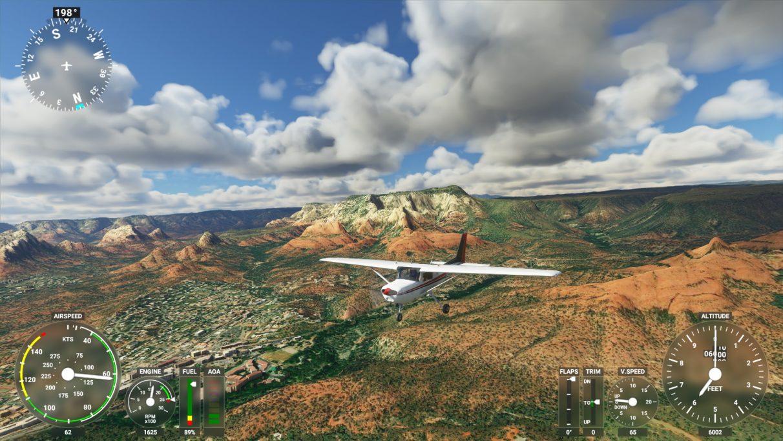 Una captura de pantalla de Microsoft Flight Simulator 2020 en su configuración de gráficos Media