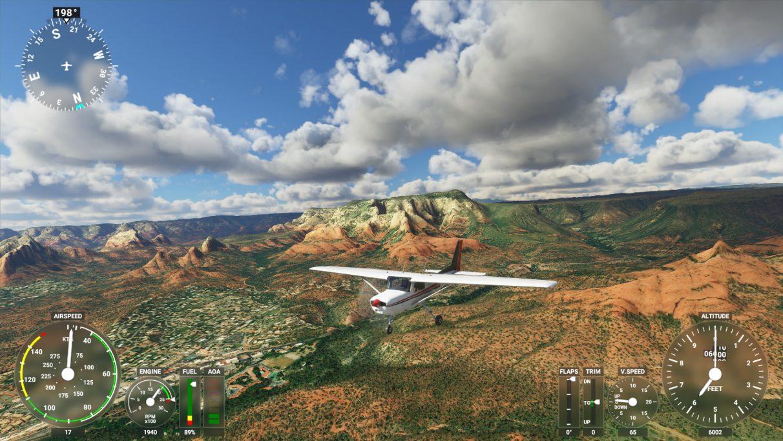 Una captura de pantalla de Microsoft Flight Simulator 2020 en su configuración de gráficos Ultra