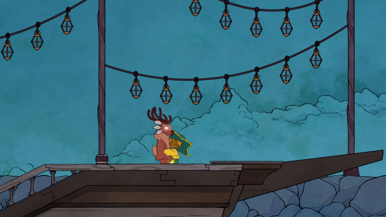 Una captura de pantalla que muestra al personaje jugador de Spiritfarer, Stella, abrazando a Gwen, un elegante espíritu de ciervo.