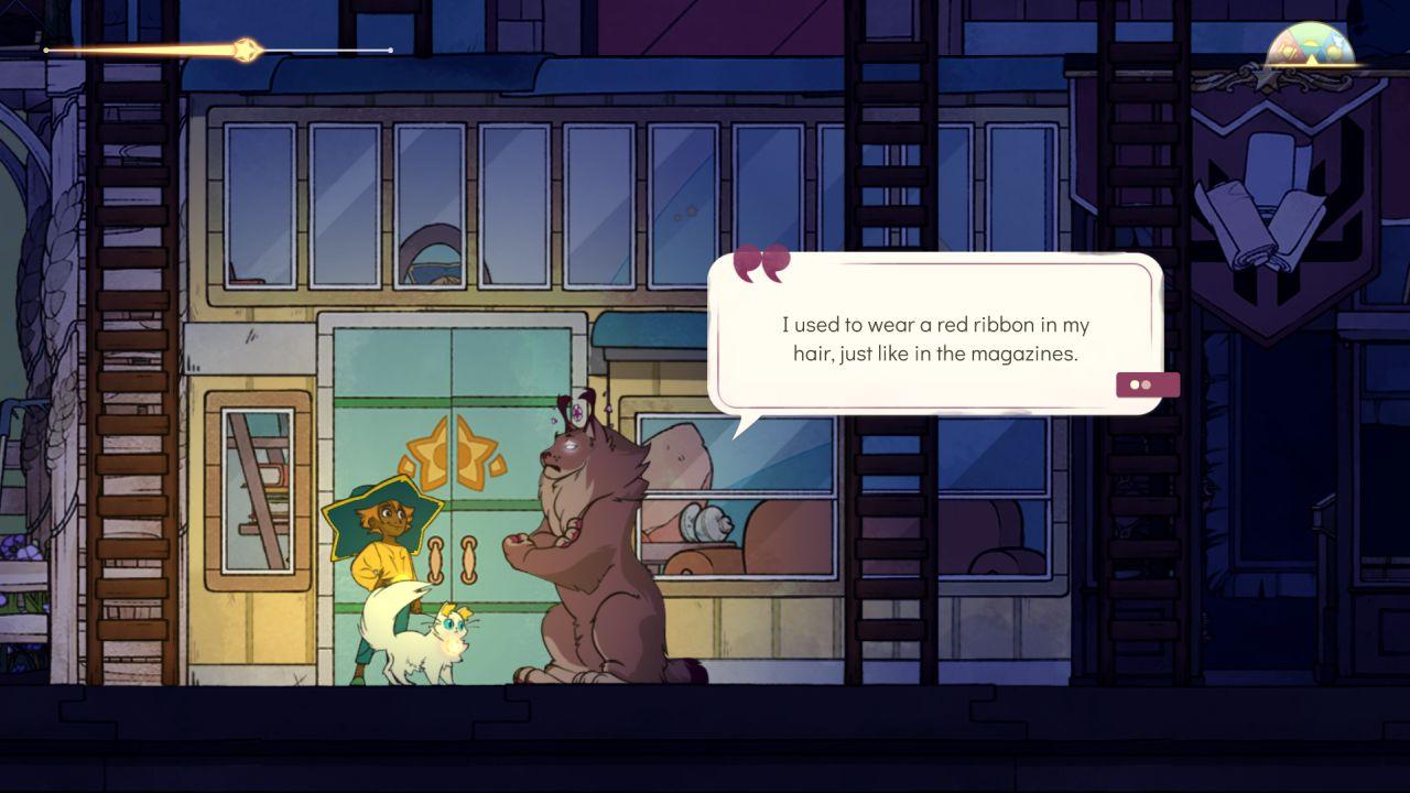 Una captura de pantalla del personaje jugador Stella en Spiritfarer, hablando con el espíritu lince Astrid.  Astrid dice: 'Solía llevar una cinta roja en el pelo, como en las revistas'.