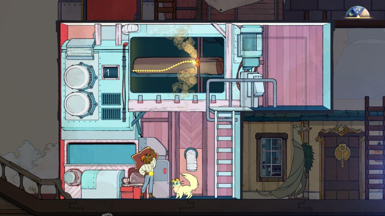 Una captura de pantalla que muestra el aserradero en Spiritfarer, un edificio de dos niveles con una sierra que puede cortar un tronco.  La sierra debe ser dirigida por el jugador.