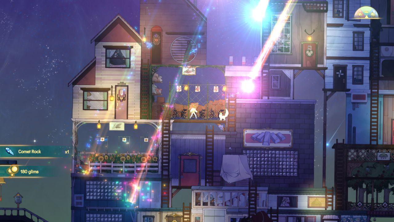 Una captura de pantalla de Spiritfarer que muestra meteoritos brillantes de colores del arco iris cayendo sobre la cubierta.