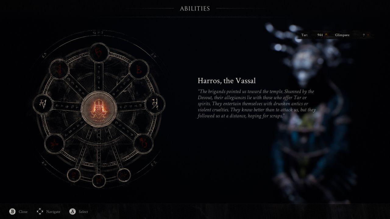 Una captura de pantalla de Mortal Shell que muestra la pantalla de habilidades desbloqueables para la armadura Shell de Harros, el vasallo.  Esto está representado por un círculo de runas interconectadas, algunas de las cuales están iluminadas.