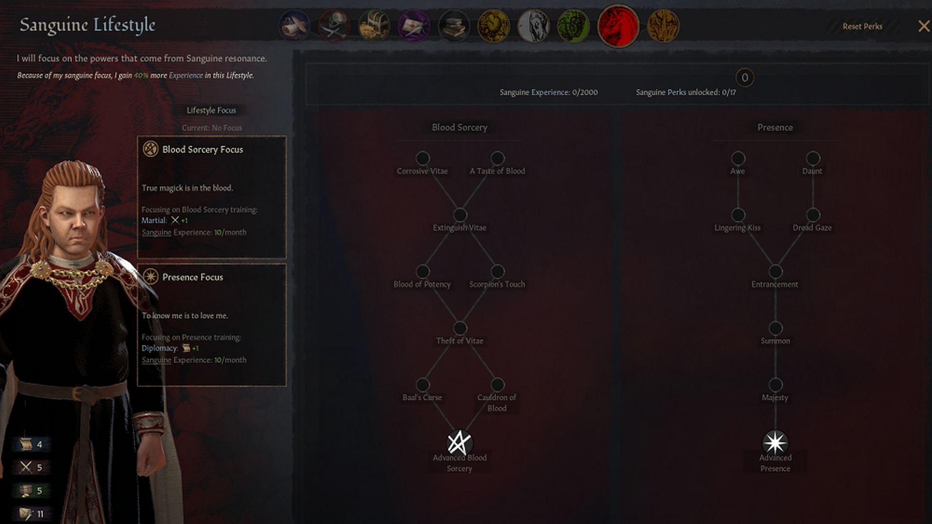 Una captura de pantalla de Crusader Kings 3 que muestra las opciones de desarrollo del personaje de un vampiro
