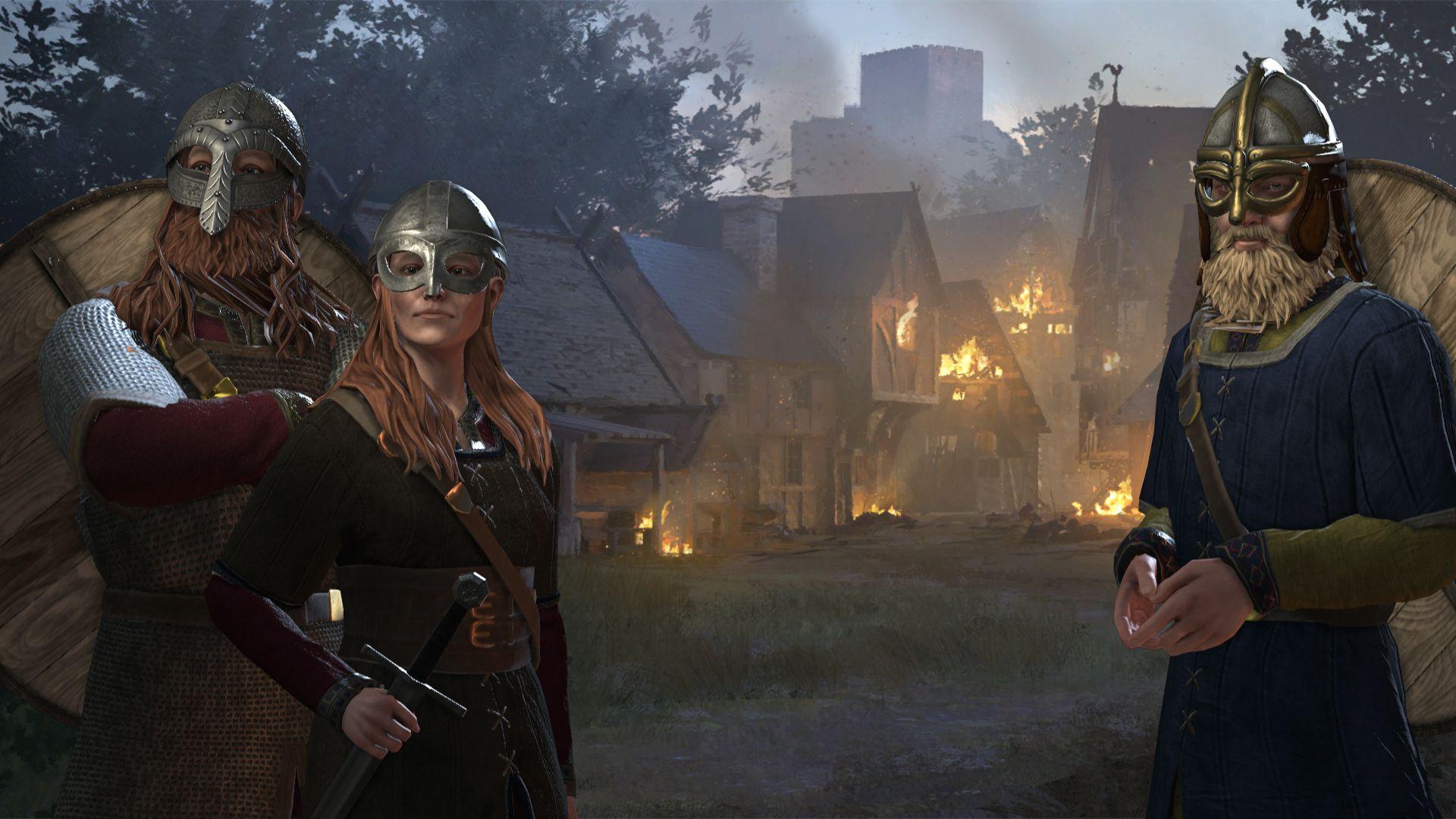 Una captura de pantalla de Crusader Kings 3 que muestra un grupo de tres personajes inspirados en los nórdicos