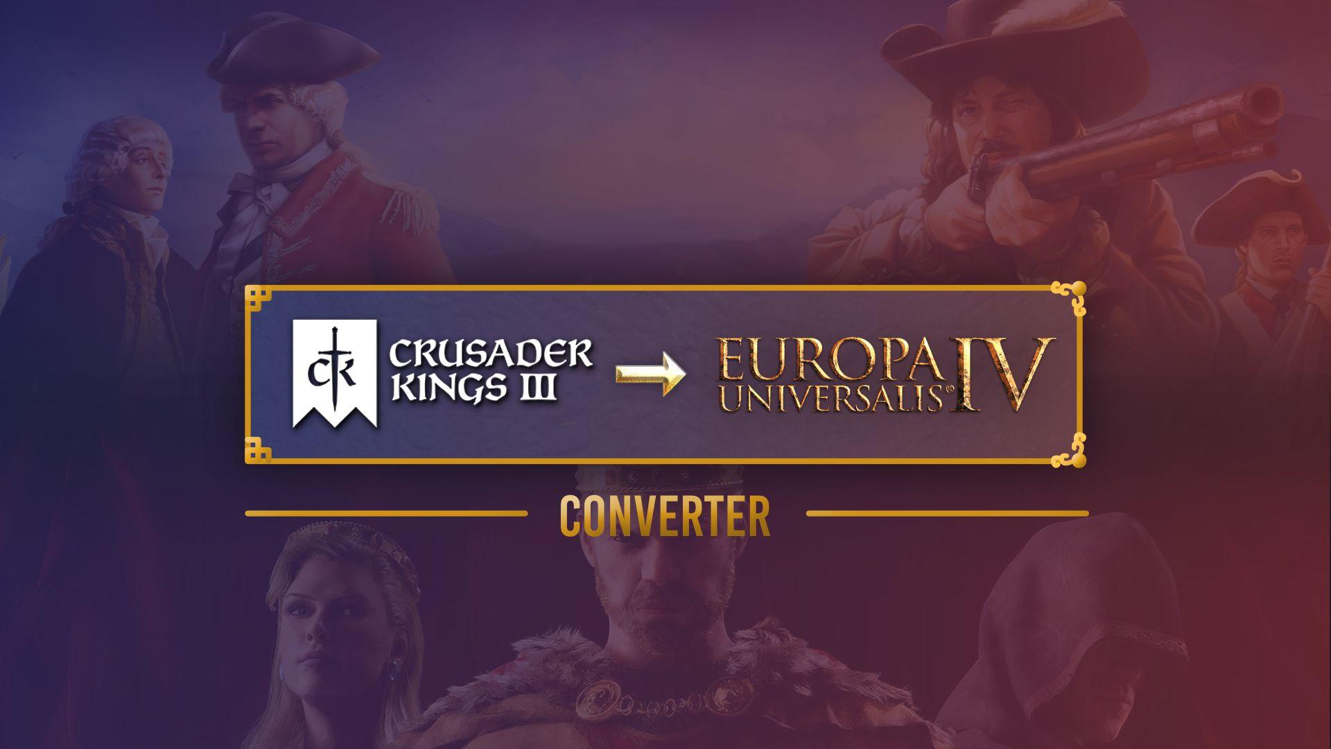Una obra de arte que muestra los logotipos de Crusader Kings 3 y Europa Universalis IV