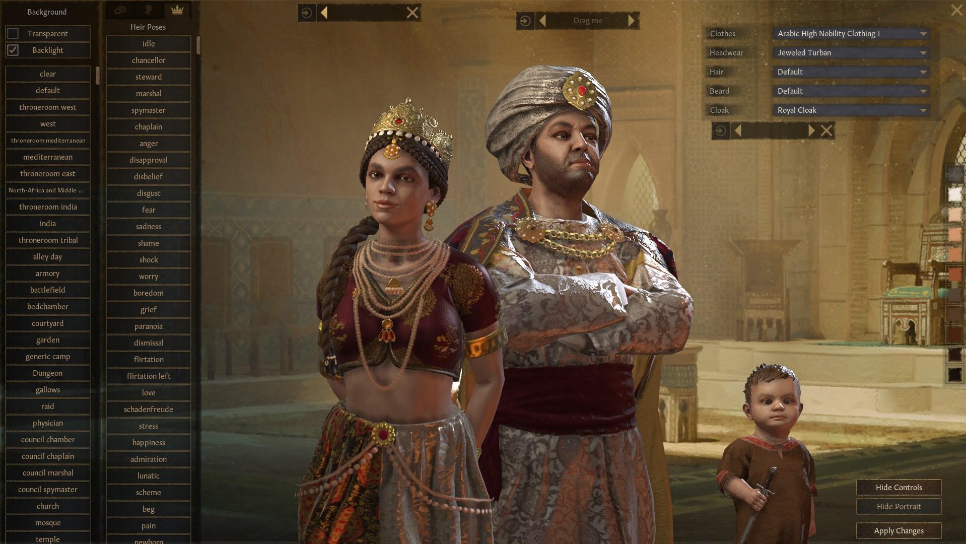 Una captura de pantalla de Crusader Kings 3 que muestra a una familia posando para una captura de pantalla.  El nuevo menú tiene selecciones para poses y el fondo de las obras de arte.