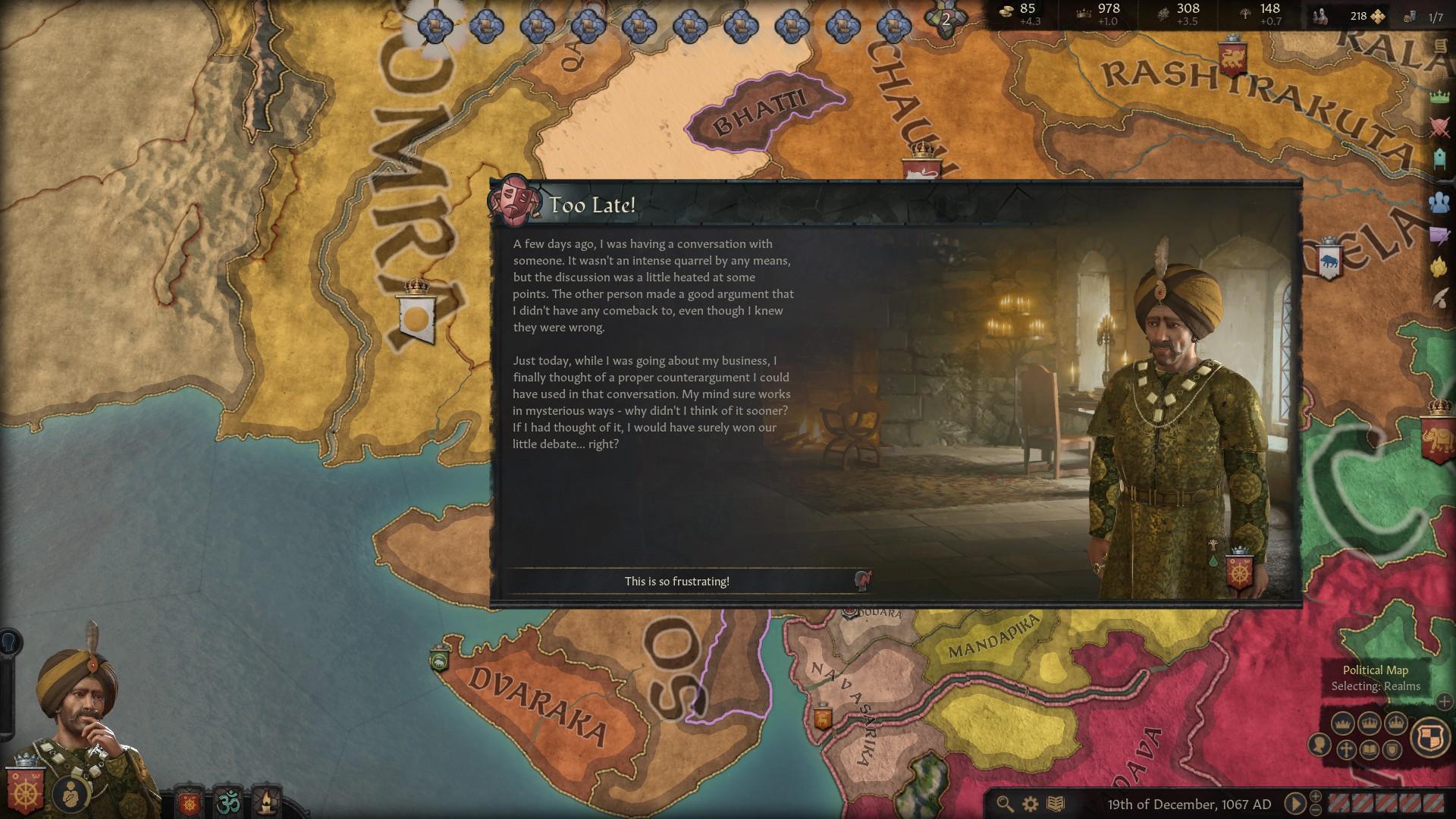 Una captura de pantalla de Crusader Kings 3 que muestra un evento en el que un personaje noble ha recordado un regreso inteligente por un desacuerdo días antes.