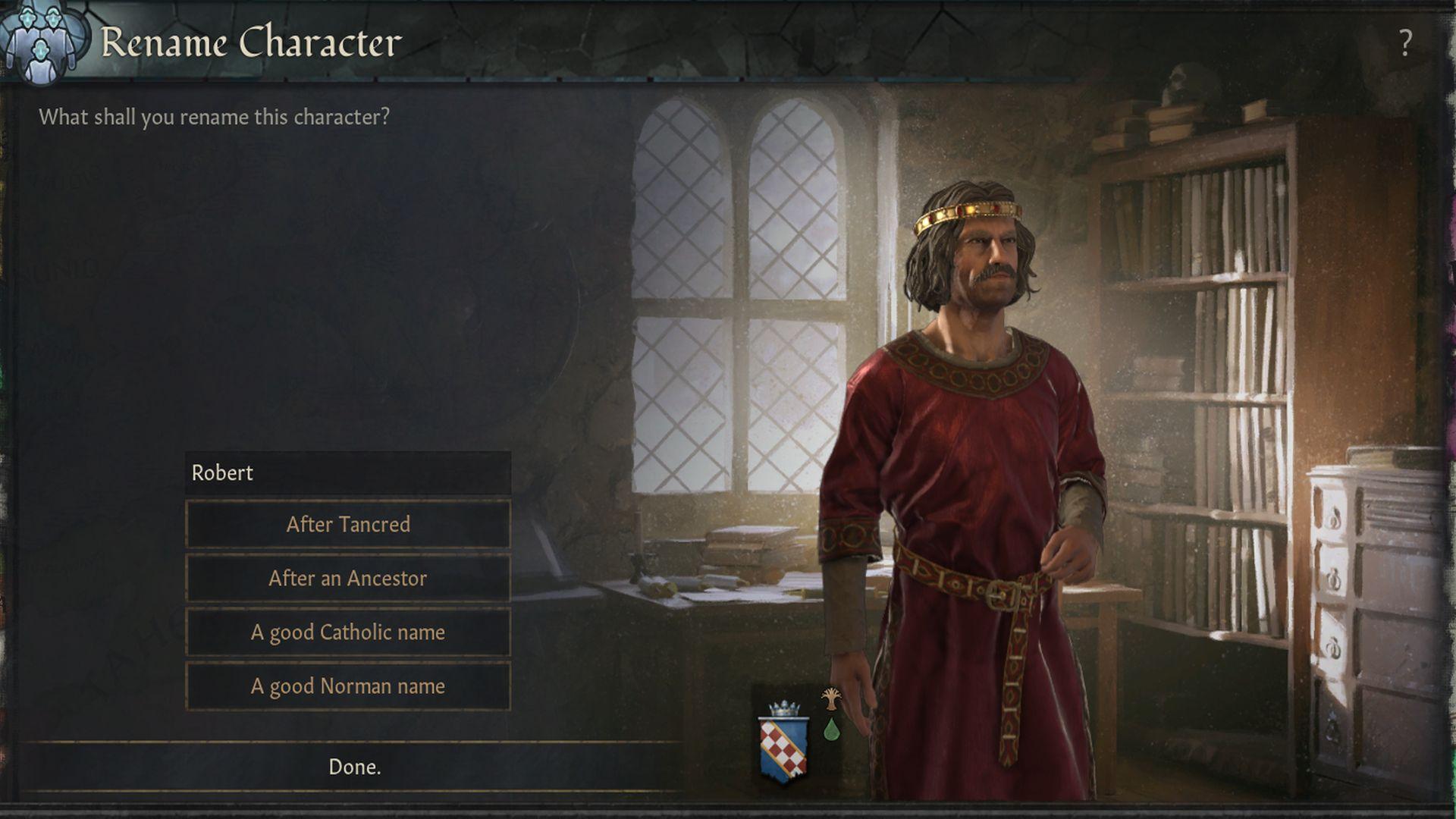 Una captura de pantalla de Crusader Kings 3, con un nuevo menú de cambio de nombre de personaje