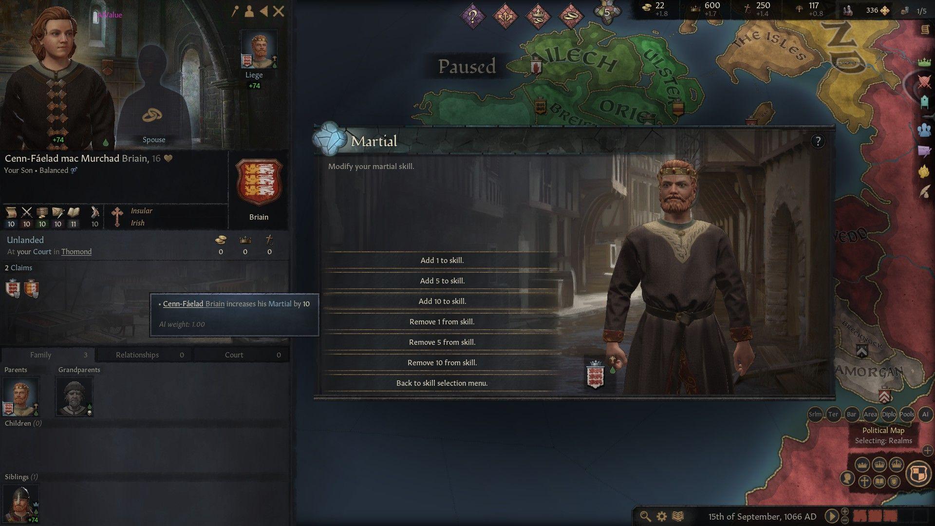 Una captura de pantalla de Crusader Kings 3, que muestra un personaje recién creado y un menú