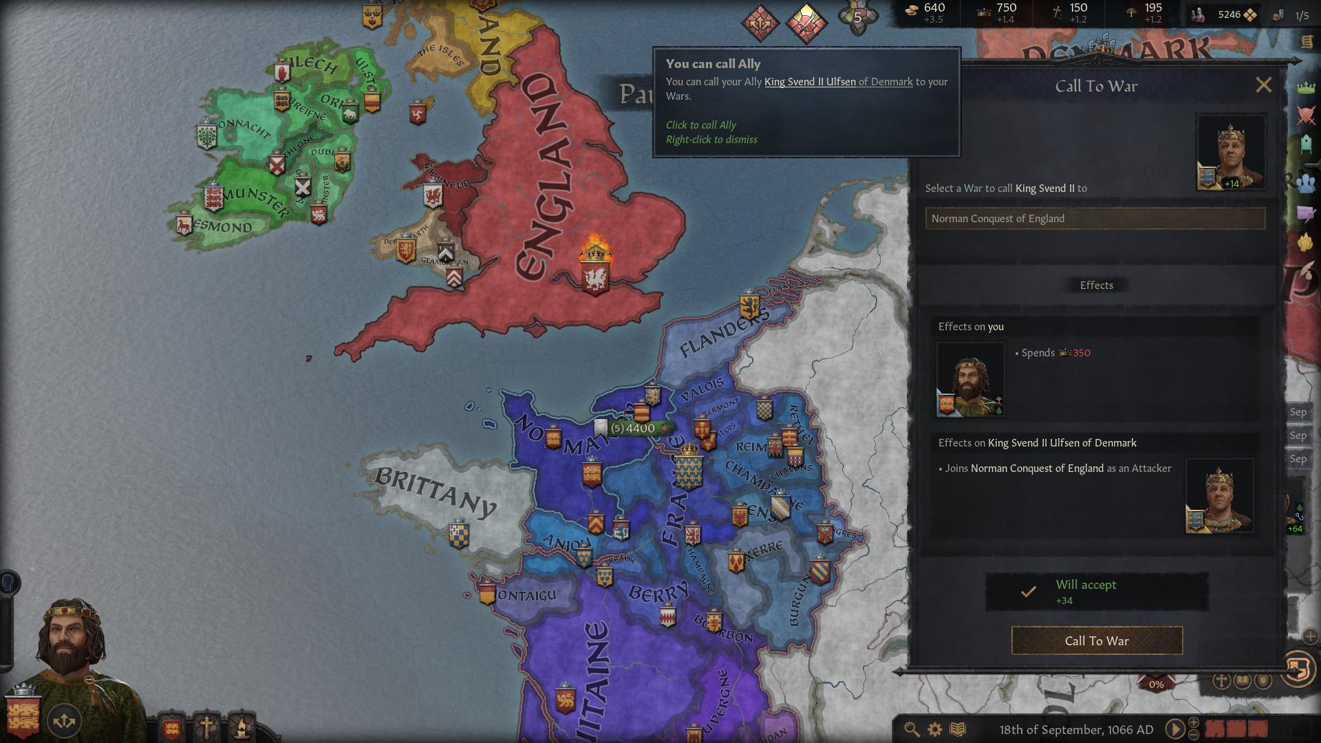 Una captura de pantalla de Crusader Kings 3 que muestra una alerta de aliado