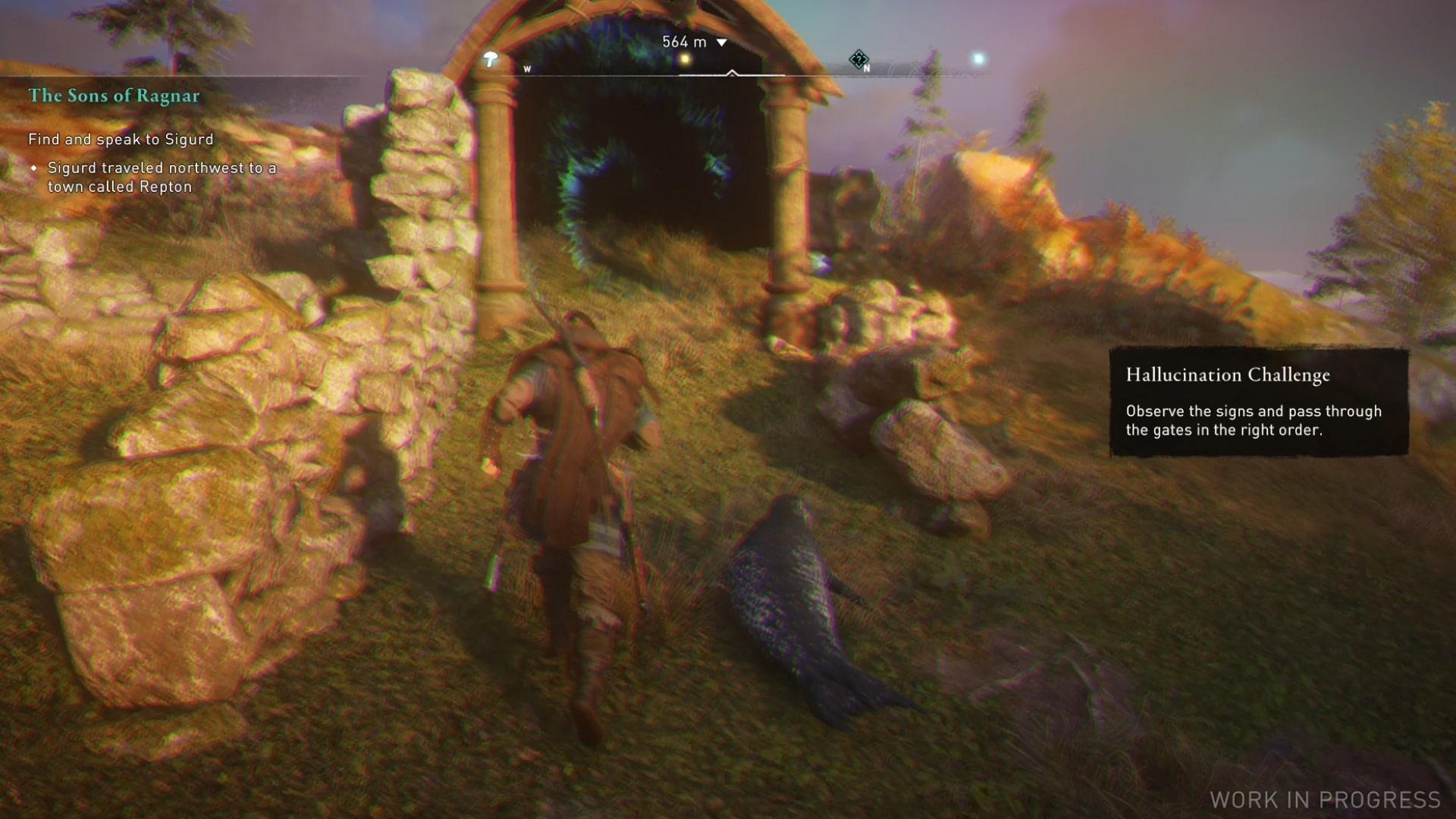 Una captura de pantalla que muestra a Eivor siguiendo un sello hacia una puerta en el extraño desafío alucinatorio.